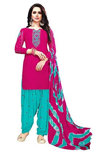 Patiala Salwar Embroidered Cotton Salwar Kameez Suit India/Pakistani Dress (Dark Turquoise, 1X PLUS-50)