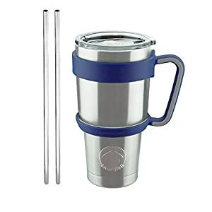 Livin' Well 30oz Tumbler Rambler Mug Set with Handle, Lid and Stainless Steel Straws – Double Walled & Vacuum Sealed To Keep Drinks Cold for 24 Hours – Blue