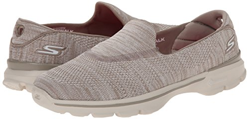Skechers Performance Women's Go Walk 3 Fitknit Extreme Slip-On Walking Shoe,Taupe,7.5 M