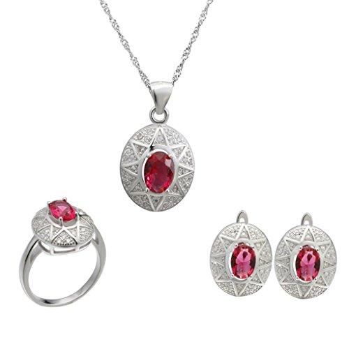 Aooaz Womens Jewelry Set, Silver Plated Red Oval Crystal Ring Pendant Necklace Earrings Wedding Promise by Aooaz