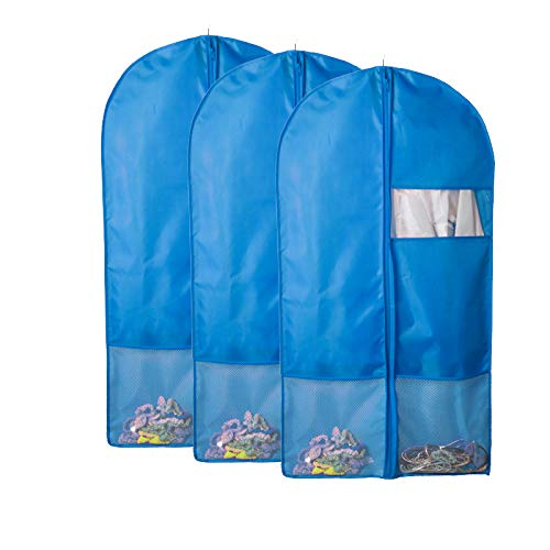 QEES 3 PCS Dance Garment Bags with Pockets, Blue Full Zipper Costume Dress Garment Bags for Storage, Travel Storage Protector, Suit Cover for Dresses,Coats YFZ61-3 -