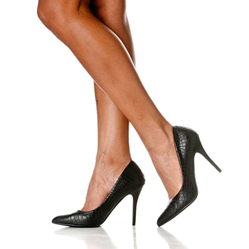 Heels Riverberry Croc Closed Stiletto Black Gaby Toe Women's Pointed Pump qz0rwqF