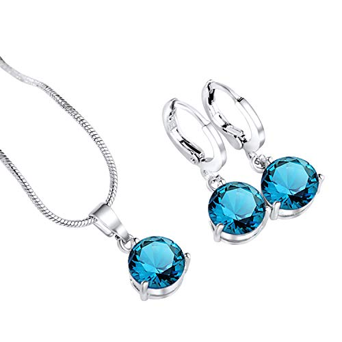 (Designer Inspired Luxury Round Birthstone Swarovski Elements Necklace and Earrings Set (Blue Topaz))