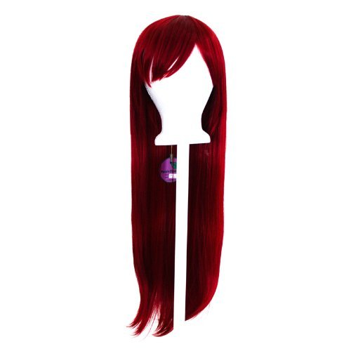 Tomoyo - Crimson Red Wig 32'' Long Straight Cut w/ Long Bangs by Purple Plum Inc.