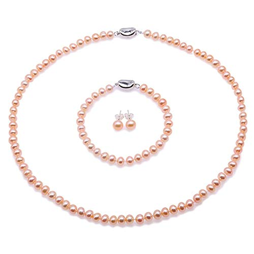 JYX Pearl Necklace Set AA+ 6-7mm Natural Pink Freshwater Cultured Pearl Necklace Bracelet and Earrings Set for Women
