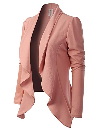MixMatchy Women's [Made in USA] Solid Formal Style Open Front Long Sleeves Blazer (S-3X) Pink 2XL