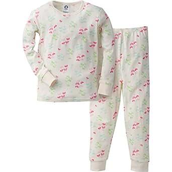 Gerber Girls' 2 Piece Cotton Pajama, Butterflies, 12 Months