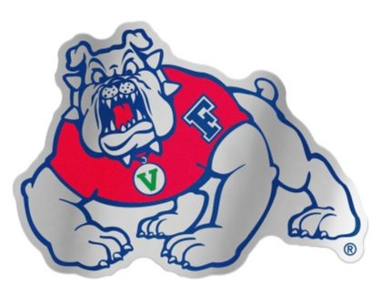 "WinCraft NCAA Fresno State University Bulldogs 4.85"" x 3.5"" Inch Plastic Auto Badge Sticker Decal"