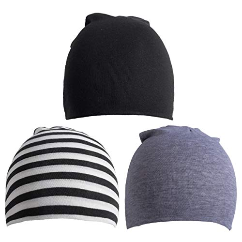 (6 Pack Toddler Infant Baby Cotton Soft Cute Knit Kids Hat Beanies Cap (Large/1-4 Years, 3PACK-Black Stripe Light Grey))