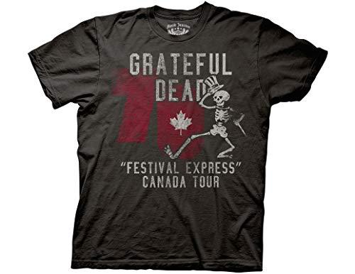 Ripple Junction Grateful Dead Adult Unisex Express Tour 1970 Canada Light Weight 100% Cotton Crew T-Shirt LG Coal