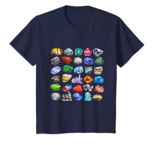 Kids Minerals Gems and Crystals T-Shirt Rock Collecting Tee 6 Navy ()
