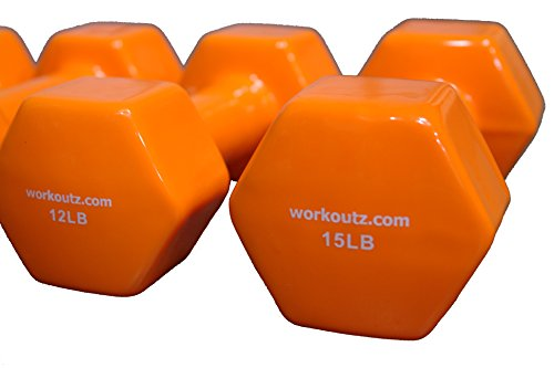 Workoutz Orange Aerobic Vinyl Coated Dumbbell Weights Pairs