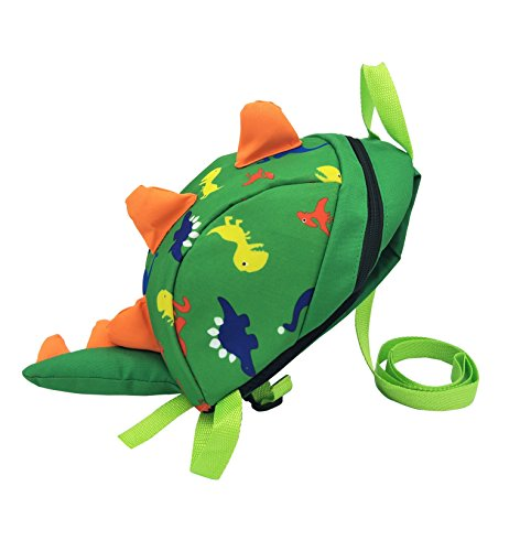 WOERKAZLD Kids Cute Cartoon Toddle Dinosaur Backpack with Safety Harness Leash for 1-3 Year old child (Green) (Halloween Safety Activities For Kindergarten)