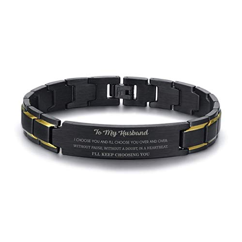 168 GIFTS Husband Birthday Gift from Wife - Men Black Stainless Steel Bracelet for Hubby Ideas for him