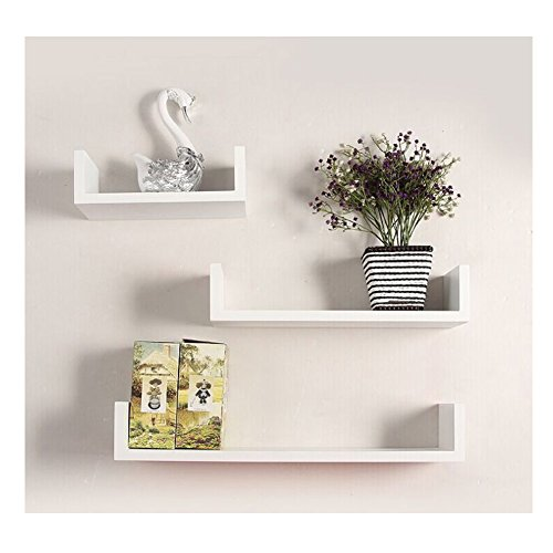 Vansop Floating Wall Shelves Large U Bookshelves DIY Storage Display Shelf ,Set of 3 (US STOCK) (White)