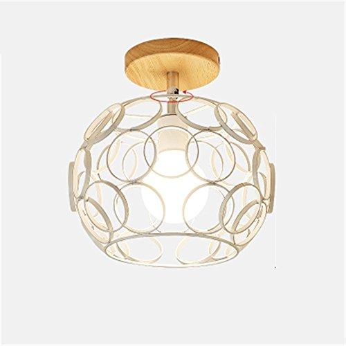 Collier Blanc 2525 QIYUEQI Lustre en verre et fer Art Lumière Plafond balcon Confortable Couloirs Retro Ball Box lumière chaude pour faire pivoter l'art et de l'Art en bois Fer verre collier blanc 2525 lampe de plafond
