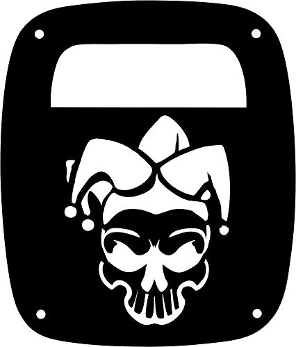 JeepTails Jester Clown Skull Design - Jeep YJ Wrangler Tail Lamp Covers - Black - Set of 2]()