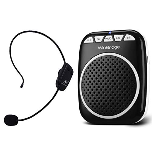 W WINBRIDGE Wireless Voice Amplifier, Portable Microphone and Speaker Rechargeable Lightweight Original Personal Clip On Loudspeaker for Elderly, Teaching, Presentations, Guiding etc 10W