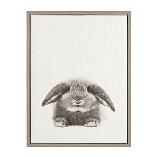 (Kate and Laurel Sylvie Rabbit Black and White Portrait Gray Framed Canvas Wall Art by Simon Te Tai)