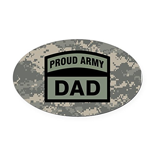 CafePress - Proud Army Dad Camo - Oval Car Magnet, Euro Oval Magnetic Bumper Sticker ()