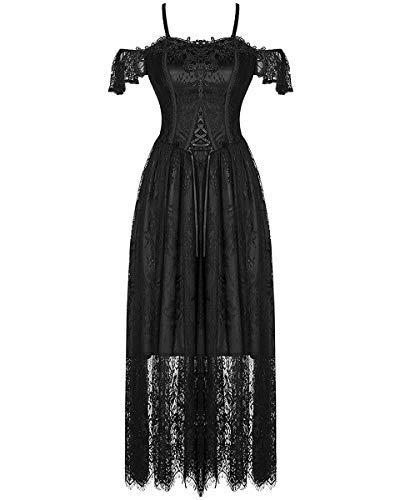 Vestido Encaje De Boda Negro Steampunker Graduación Victoriano Dark In Noche Love Gótico Cwnt6q