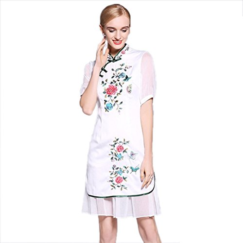 s Neck Embroidered Cheongsam Formal White cotyledon Collared Fit Short Women Dress Sleeve Slim Dresses 5pqnwz