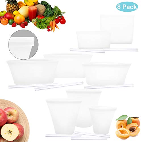 Yawenner Reusable Silicone Food Storage Bag, 8 Pack Bags With Slider, Zip Lock Top Leakproof Containers Stand Up Stay Open Zip Shut Portable Snack Fruit Dish Liquid Bag Cup - Complete Set White (Plastic Stand Up Bags)