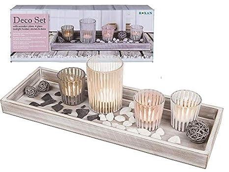 Vassoi In Legno Con Vetro : Mc trend set decorativo con vassoio in legno con portacandele in