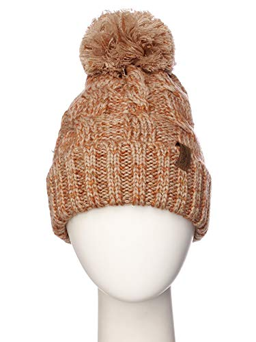 f1ff49ee372 Emmalise Women Chunky Soft Strech Cable Knit Pom Pom Beanie Sherpa Fleece  Lined