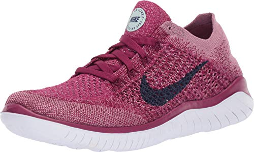 (Nike Free RN Flyknit 2018 Women's Running Shoe Raspberry RED/Blue Void-White-Teal Tint 9.5)