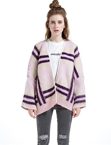 Xuanku Women's Casual/Daily Simple Short Cardigan,Solid Striped Print Round Neck Long Sleeves Wool Cotton Polyester Fall Winter Thick Blushing Pink