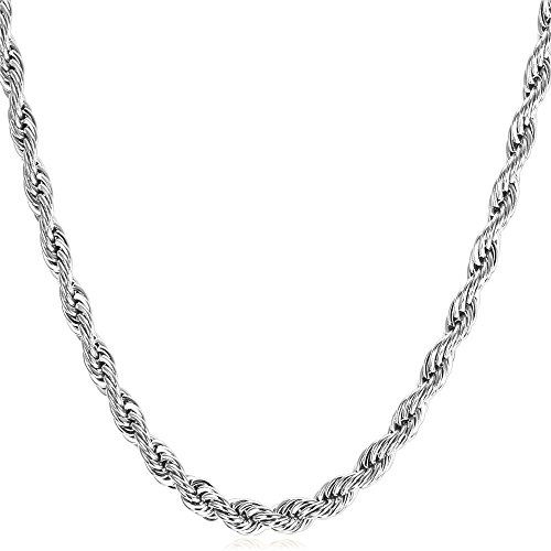 U7 Men Women 3mm Wide Stainless Steel Rope Chain Necklace ()