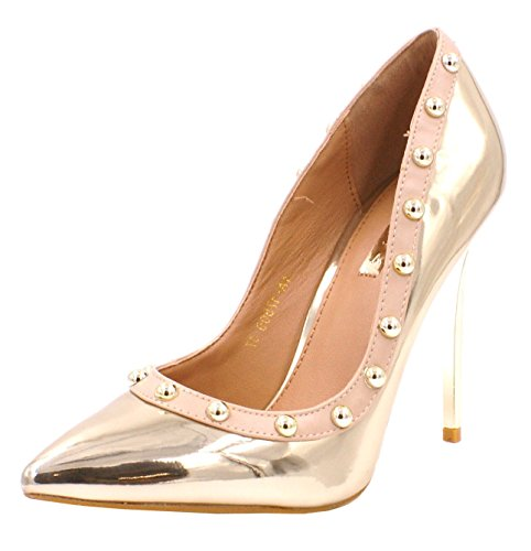 Evening Court Gold Party Dressy D66 Pointed Stiletto High Pumps Studded Womens Prom SHU Heel Toe Shoes CRAZY Ladies vWq6nfTP