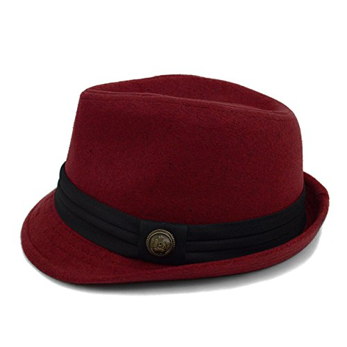Men's Solid Sovereign Fall/ Winter Fedora (Red And Black Fedora Hat)