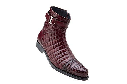 Belvedere Mens Libero Genuine Alligator and Soft Quilted Leather Boots, Antique Wine, 10.5 Medium (819) - Medium Purple Leather Footwear
