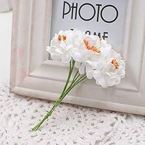 GSD2FF 6pcs Silk Gradient Stamen Artificial Flower Bouquet for Wedding Decoration DIY Decorative Wreath Fake Flowers,Red 4