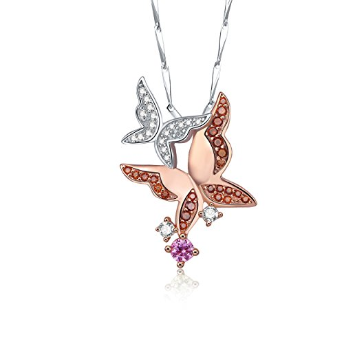 Yeinos Womens Rose Gold Plated Butterfly Animal Charm Pendant Necklace 925 Sterling (Rose Quartz Butterfly Necklace)