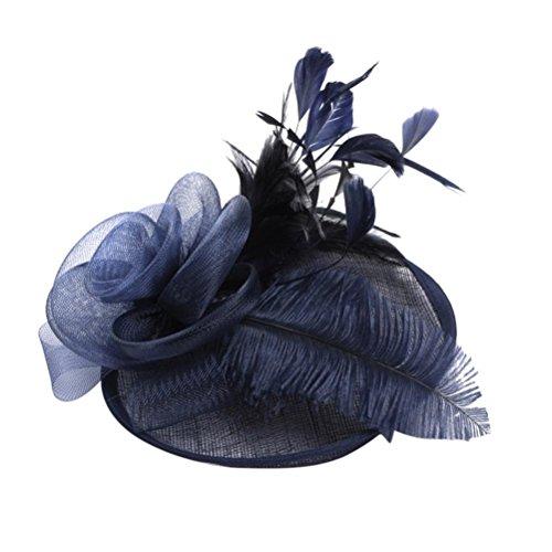 (XILALU Fashion Women Fascinator Mesh Kentucky Derby Hat Mesh Flower Feathers Party Victorian Wedding Bridal Headwear (Navy))