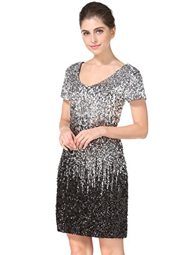 Women's Sequin Glitter Short Sleeve Gowns Sexy V Neck Mini Party Bodycon Dress Not Itching (S, Silver/Gray/Black)
