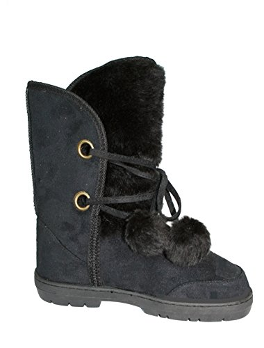 BLACK THICK POM SNOW CALF MID FUR FAUX SIZE SHEEPSKIN ELLA WOMENS LADIES 3 WINTER BOOTS POM OxqwpS0p