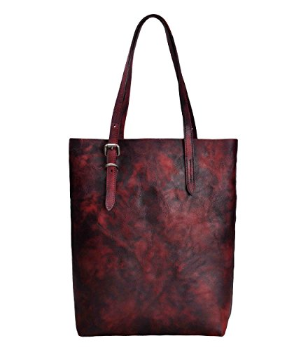 ZLYC Women Vintage Handmade Dip Dye Leather Classic Casual Tote Shoulder Bag, Dark Red