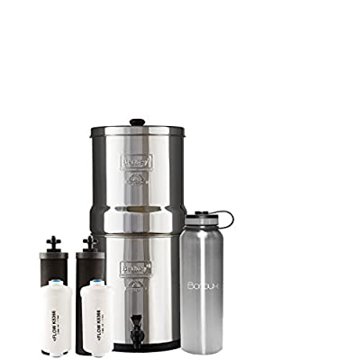 Berkey Water Filter System includes Black Filters and Fluoride Filters (1.5 - 6 Gallon) bundled with Boroux 40 oz Stainless Steel Double Wall Bottle