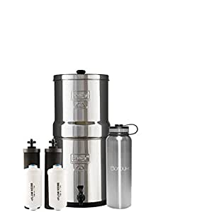 Boroux 40 oz Double Wall Bottle bundled with Big Berkey Water Filter System includes Black Filters and Fluoride Filters (2.25 Gallon)