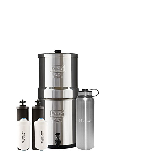 Big Berkey Water Filter System includes Black Filters and Fluoride Filters (2.25 Gallon) bundled with Boroux 40 oz Stainless Steel Double Wall Bottle by Boroux