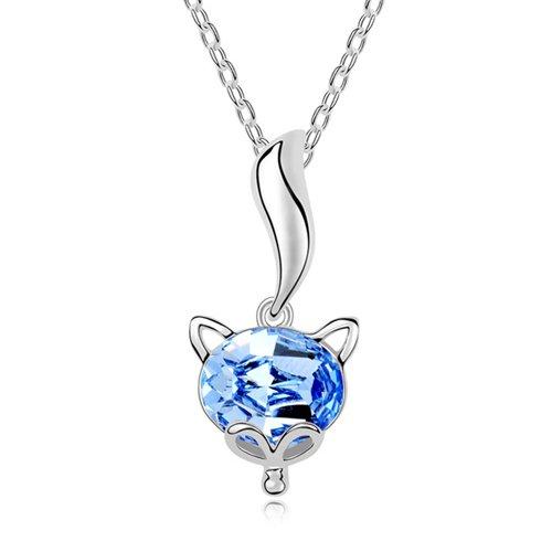 Mqueen Aquamarine Cute Fox Pendant Necklace