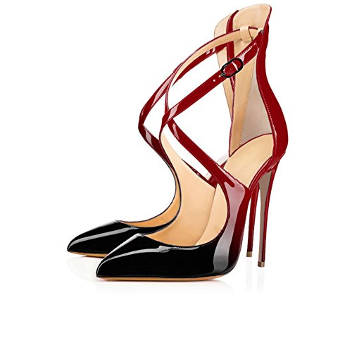 Modemoven Women's Pointed Toe Red Black Heels Heels with Ankle Strap, Dress D'orsay Pumps,Criss Cross Sandals - 7.5 M (Criss Cross Sandal Pump)