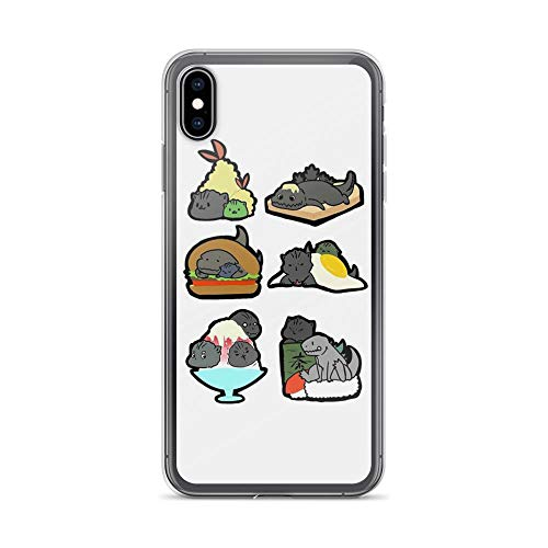 (iPhone Xs Max Pure Clear Case Cases Cover Sushi Cute Godzilla Funny Anime Cartoon)