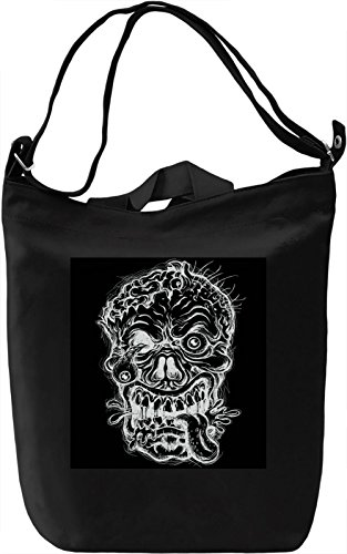 Skull Print Borsa Giornaliera Canvas Canvas Day Bag| 100% Premium Cotton Canvas| DTG Printing|