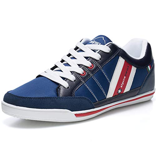 alpine swiss Mens Stefan Navy Suede Trim Retro Fashion Sneakers 13 M -