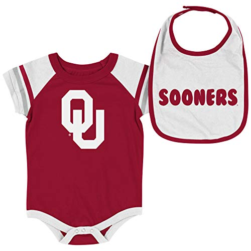 Colosseum NCAA Baby Short Sleeve Bodysuit and Bib 2-Pack-Newborn and Infant Sizes-Oklahoma Sooners-0-3 Months